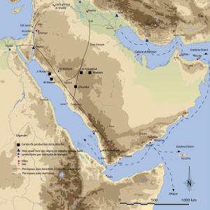 Carte localisant les mines de chlorite actives durant la période abbasside. (c) Le Maguer